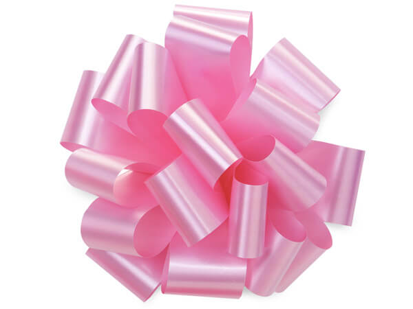 "5"" Baby Pink Self Adhesive Pom Pom Gift Bows, 48 Pack"