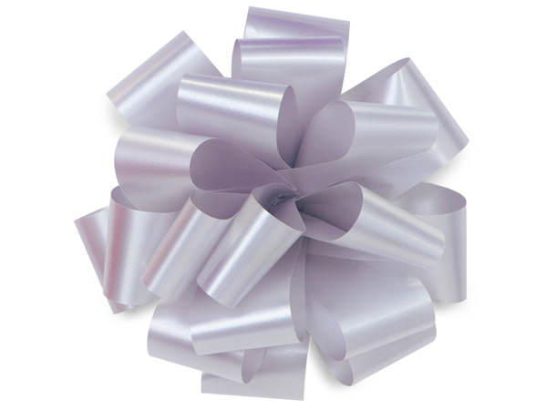 "5"" Silver Self Adhesive Pom Pom Gift Bows, 48 Pack"