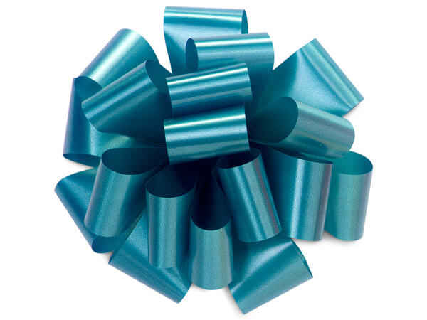 "5"" Turquoise Blue Self Adhesive Pom Pom Gift Bows, 48 Pack"