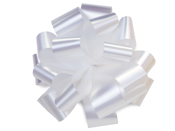 "5"" White Self Adhesive Pom Pom Gift Bows, 48 Pack"