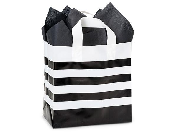 "Black Stripe Plastic Gift Bags, Hobo 10x6x10"", 100 Pack"