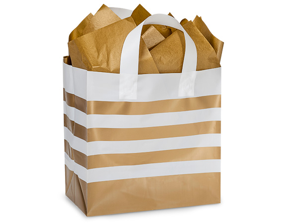 "Metallic Gold Stripe Plastic Gift Bags, Hobo 10x6x10"", 100 Pack"