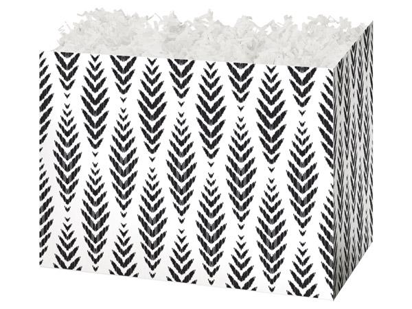 """Boho Feathers Basket Box, Large 10.25x6x7.5"""", 6 Pack"""