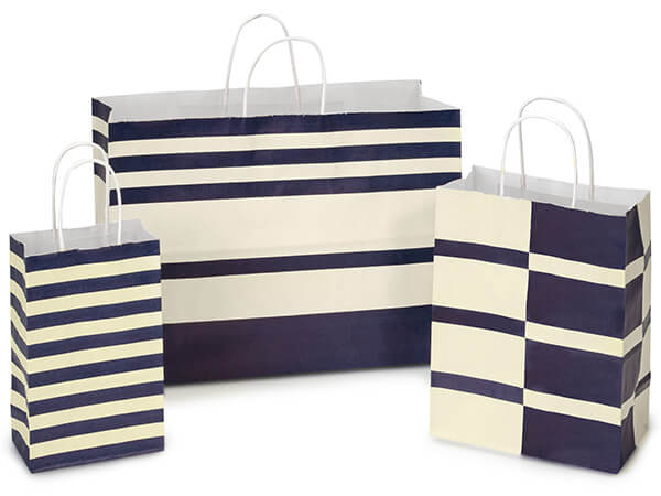 Blue Indigo Stripe White Kraft 125 Pk Paper Bag Assortment