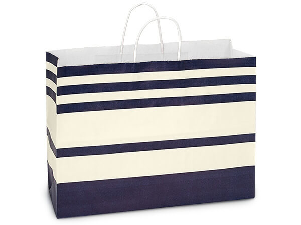 Vogue Blue Stripe White Kraft Paper Bags 250 16x6x12""