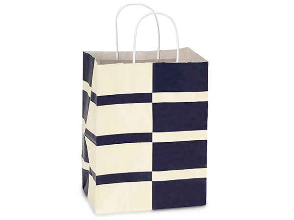 Cub Blue Indigo Stripe White Kraft Bags 25 Pk 8x4-3/4x10-1/4""