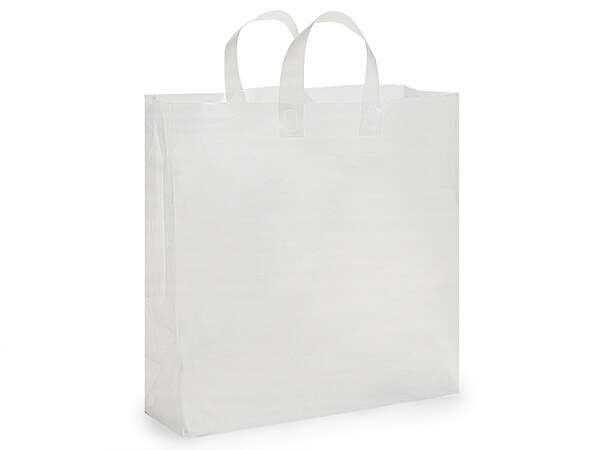 """Clear Frosted Plastic Gift Bags, Jumbo 18x7x18"""", 200 Pack, 3 mil"""