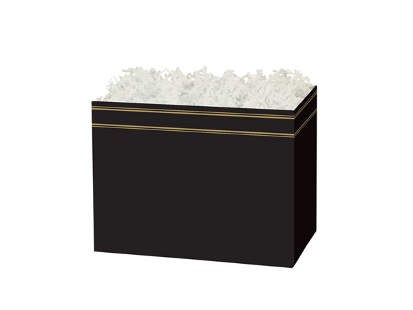 "Black & Gold Basket Boxes, Small 6.75x4x5"", 6 Pack"