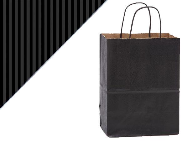 """Black Shadow Stripe Kraft Bags Cub 8x4.75x10.5"""", 250 Pack"""