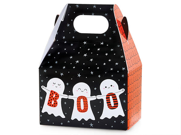 """Boo Ghosts Mini Gable Boxes 4x2.5x2.5"""", 6 Pack"""