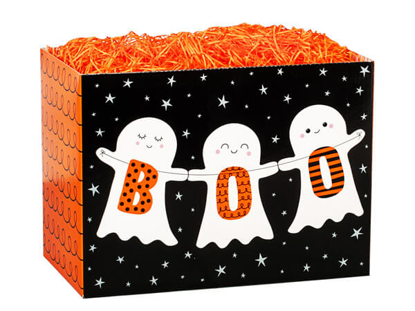 "Boo Ghosts Basket Boxes, Small 6.75x4x5"", 6 Pack"