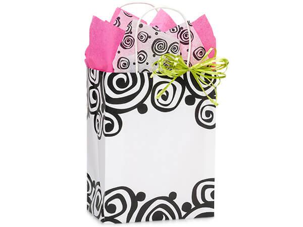 "Bohemian Swirls White Kraft Bags Cub 8x4.75x10.25"", 250 Pack"