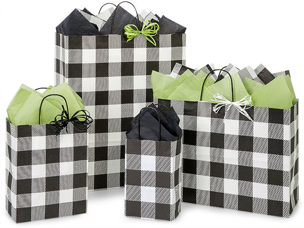 Buffalo Plaid Black Shopping Bags