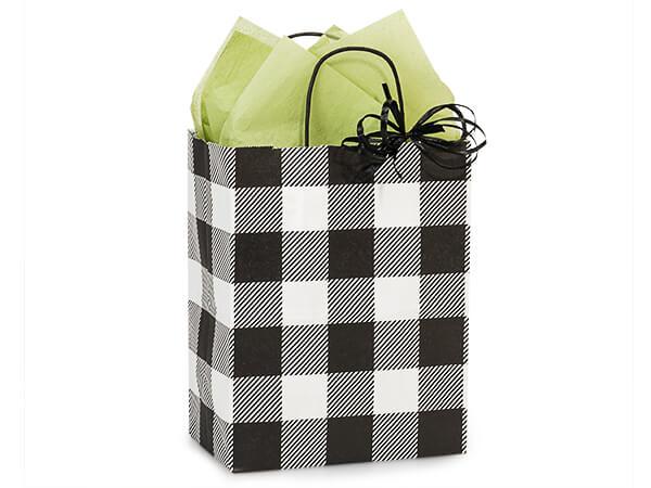 "Buffalo Plaid Black Paper Shopping Bags, Cub 8x4.75x10.25"", 250 Pack"