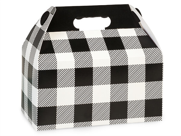 "Buffalo Plaid Black Gable Boxes 9-1/2 x 5 x 5"", Pack 6"