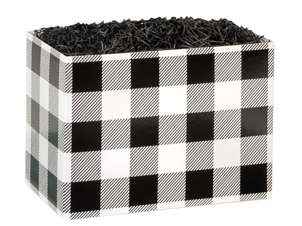 Large Buffalo Plaid Black Basket Boxes 10-1/4x6x7-1/2""