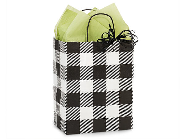 "Buffalo Plaid Black Paper Shopping Bags, Cub 8x4.75x10.25"", 25 Pack"