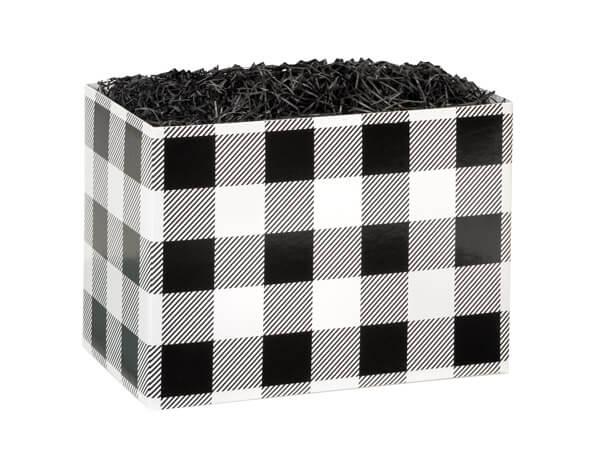 "Small Buffalo Plaid Black Basket Boxes 6-3/4x4x5"""