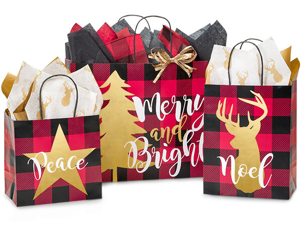 Buffalo Plaid Christmas Shopping Bags