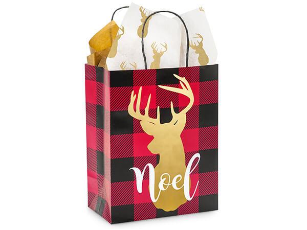 """Buffalo Plaid Christmas Shopping Bags, Cub 8.25x4.75x10.5"""", 250 Pack"""
