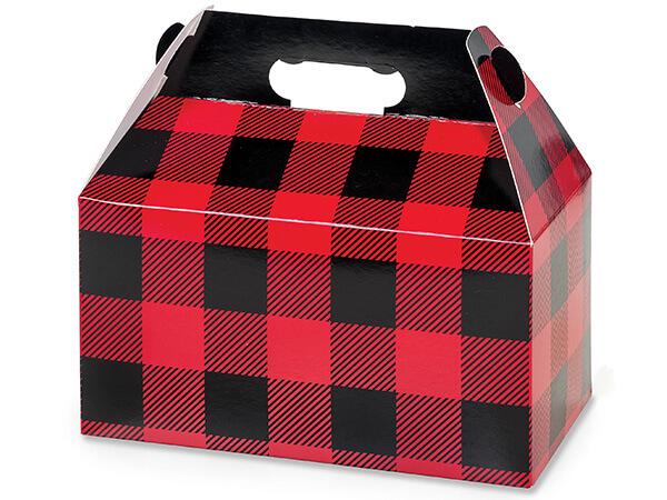 Buffalo Plaid Gable Boxes 9-1/2 x 5 x 5""