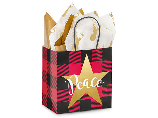 Junior Buffalo Plaid Christmas Bags 25-Pk 8x5x8""