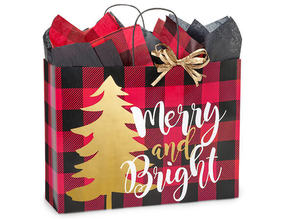 Vogue Buffalo Plaid Christmas Bags 25-Pk 16x6x12-1/2""