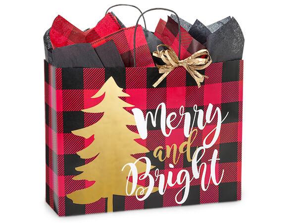 "Buffalo Plaid Christmas Shopping Bags, Vogue 16x6x12-1/2"", 25 Pack"