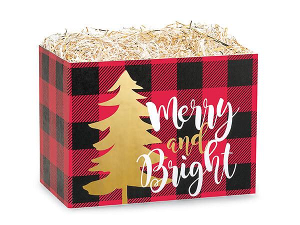 """Small Buffalo Plaid Christmas Basket Boxes 6-3/4x4x5"""""""