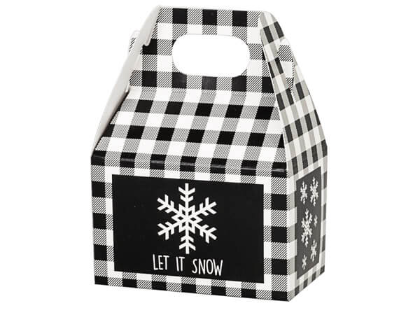 Black Plaid Snowflake Mini Gable Boxes