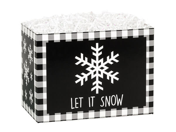 "Black Plaid Snowflake Basket Boxes, Small 6.75x4x5"", 6 Pack"
