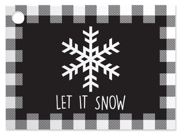 Black Plaid Snowflake Theme Gift Cards, 3.75x2.75, 6 Pack