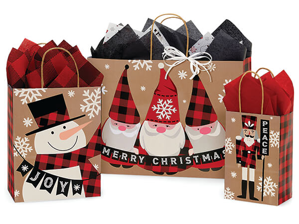 Buffalo Plaid Wishes Paper Shopping Bag Assortment, 125 Pack