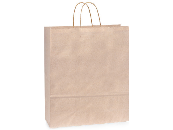 *Queen Oatmeal Recycled Paper Bags 200 Pk 16x6x19""