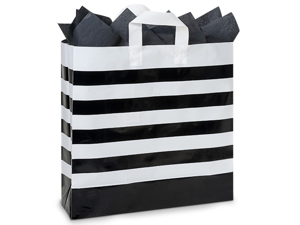 "Black Stripe Plastic Gift Bags, Queen 16x6x16"", 100 Pack"