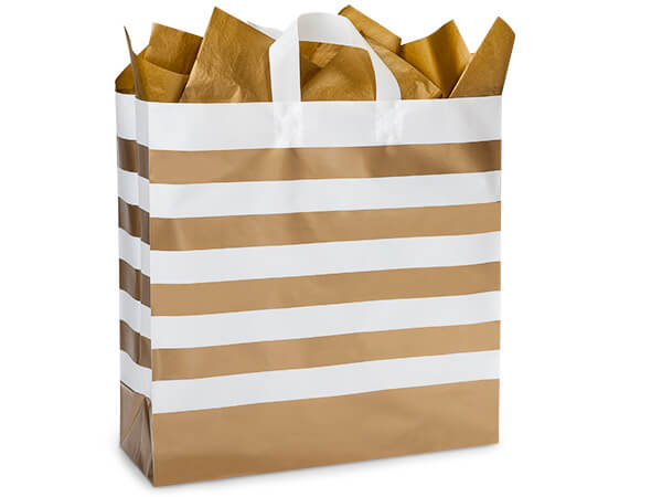 "Metallic Gold Stripe Plastic Gift Bags, Queen 16x6x16"", 100 Pack"