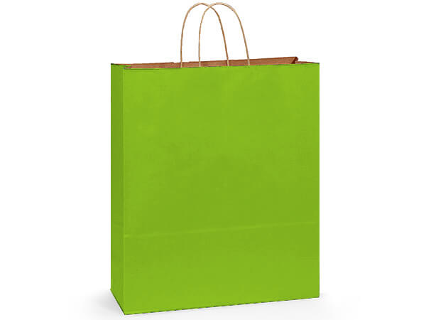 """Apple Green Recycled Kraft Bags Queen 16x6x19.25"""", 200Pack"""