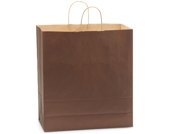 "Chocolate Brown Recycled Kraft Bags Queen 16x6x19.25"", 200Pack"