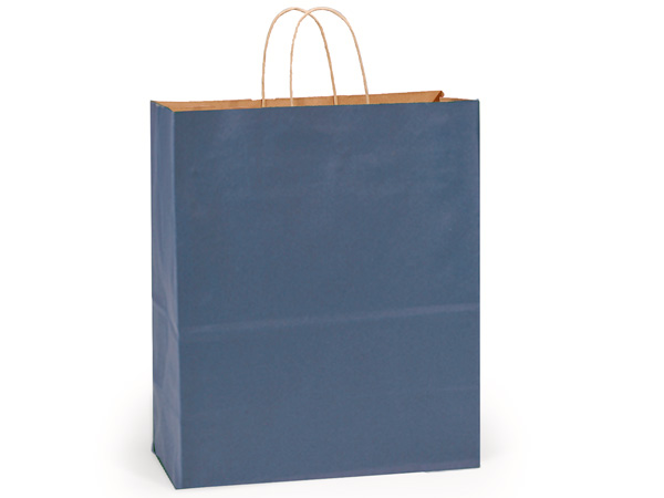 "Dark Blue Recycled Kraft Bags Queen 16x6x19.25"", 200Pack"