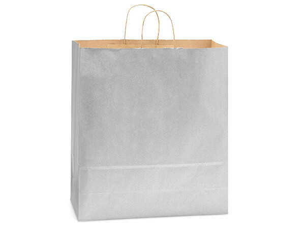 "Metallic Silver Recycled Kraft Bags Queen 16x6x19.25"", 200 Pack"