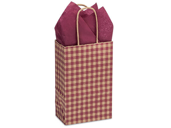 "Burgundy Gingham Paper Shopping Bags, Rose 5.5x3.25x8.5"", 250 Pack"