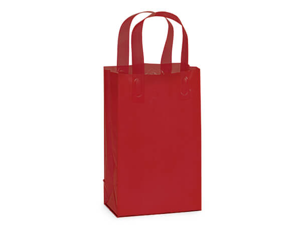 "Red Plastic Gift Bags, Rose 5x3x8"", 200 Pack"