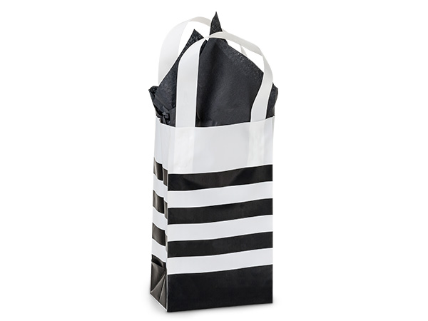 "Black Stripe Plastic Gift Bags, Rose 5x3x8"", 100 Pack"