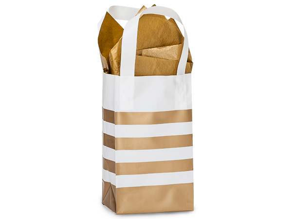 "Metallic Gold Stripe Plastic Gift Bags, Rose 5x3x8"", 100 Pack"