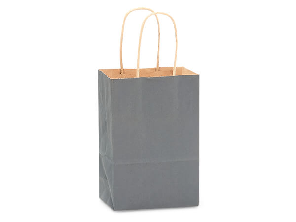 """Charcoal Gray Recycled Kraft Bags Rose 5.5x3.25x8.375"""", 250 Pack"""