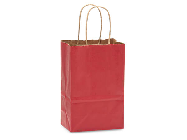"Christmas Red Recycled Kraft Bags Rose 5.5x3.25x8.375"", 250 Pack"