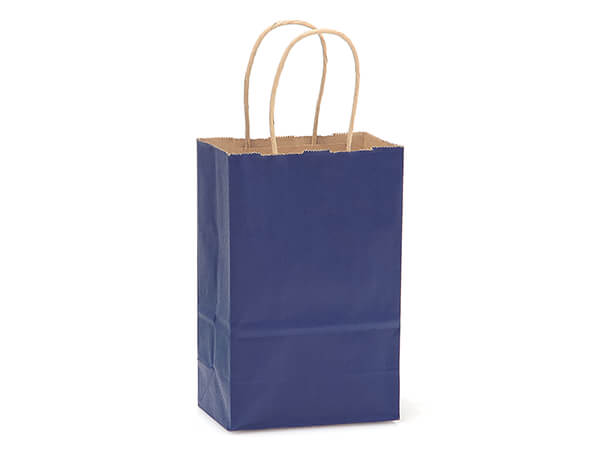"Dark Blue Recycled Kraft Bags Rose 5.5x3.25x8.375"", 250 Pack"