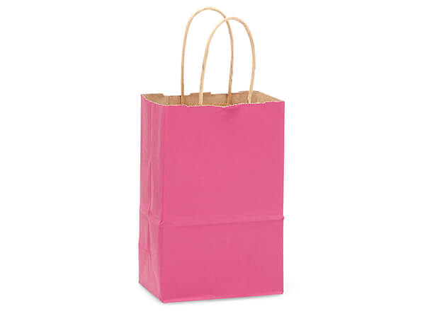 "Lipstick Pink Recycled Kraft Bags Rose 5.5x3.25x8.375"", 250 Pack"