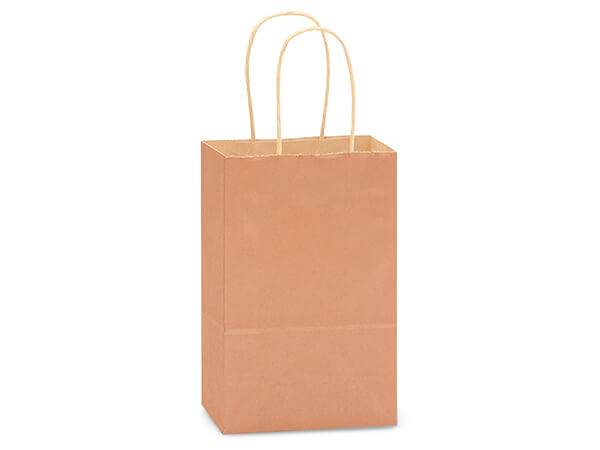 "Metallic Copper Recycled Kraft Bags Rose 5.5x3.25x8.375"", 250 Pack"