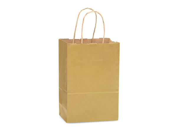 "Metallic Gold Recycled Kraft Bags Rose 5.5x3.25x8.375"", 250 Pack"